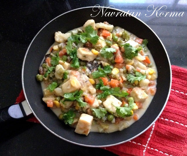 Navratan korma recipe, vegetable korma, mixed vegetable recipe, indian mixed vegetable curry