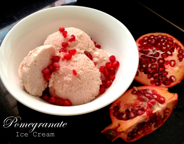 Pomegranate Ice Cream Recipe, homemade ice cream, pomegranate ice cream,no churn ice cream