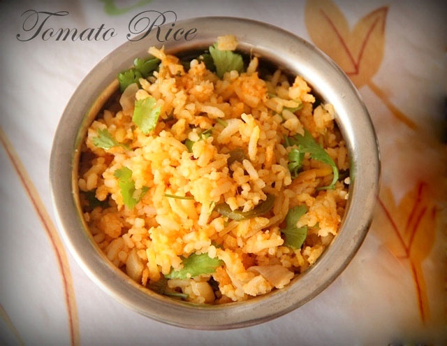 Tomato Rice Recipe, south indian rice, indian pulav, biryani, rice