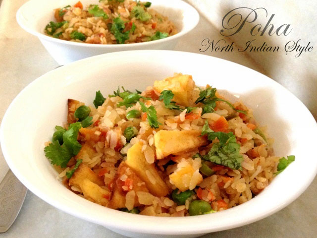 Poha (North Indian style) recipe, poha recipe, chuda matar recipe, indian breakfast, indian poha