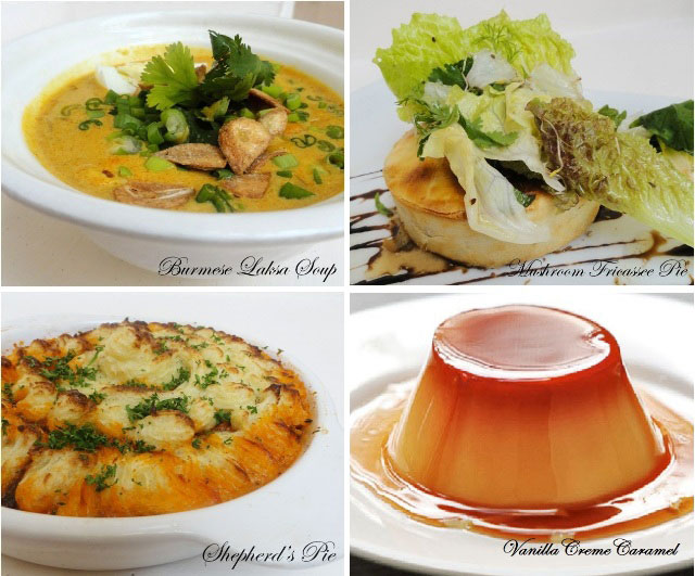 Recipes from Imperial, Delhi, Burmese Laksa Soup, Mushroom fricassee pie, Shepherd's Pie and Crème Caramel recipes , 5 star recipes