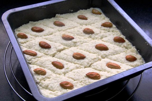 Semolina and coconut cake recipe, Basbousa recipe, Namoura  recipe,  Middle eastern semolina cake, semolina cake, coconut cake, eggless cake