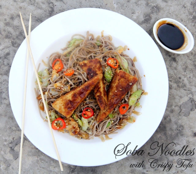 Soba noodle recipe, sesame soba noodle, garlic soba noodles, soba noodles with crispy tofu recipe, noodle with tofu recipe
