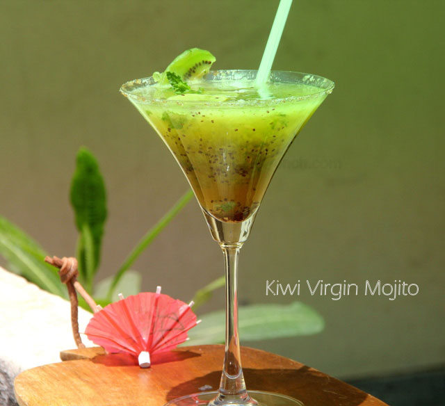 Kiwi virgin mojito, kiwi mojito, kiwi drink, summer cooler