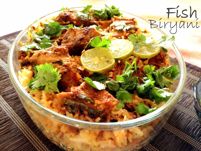 fish biriyani recipe, fish recipe, indian fish recipe, fish and rice