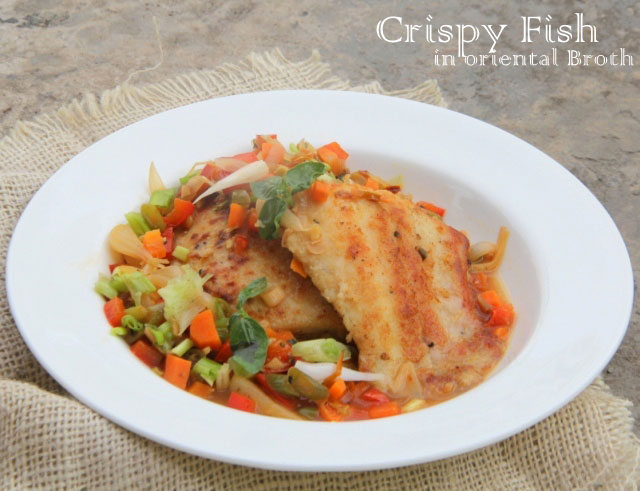 crispy fish in oriental sauce, white fish fillets in Chinese broth, fish recipe, heatly fish recipe