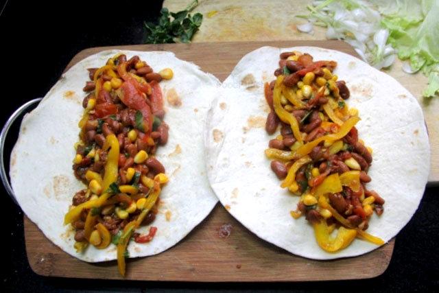 Kidney beans and corn wraps, veg enchiladas, veg wraps, kidney beans recipes