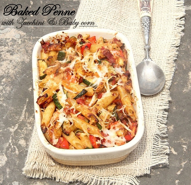baked pasta with zucchini and corn, baked penne recipe, zucchini pasta recipe, veg pasta