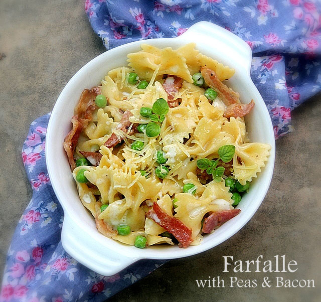 farfalle with peas and bacon, pasta with green peas, pasta salad
