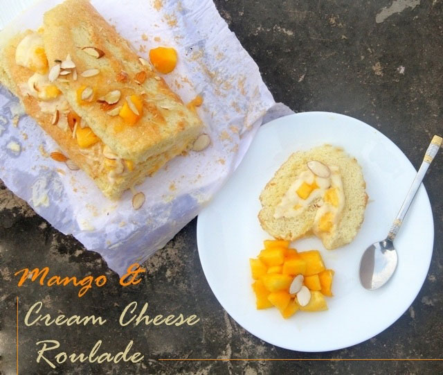 Mango and Cream Cheese Roulade Recipe, roulade recipe, roll cake recipe, mango dessert