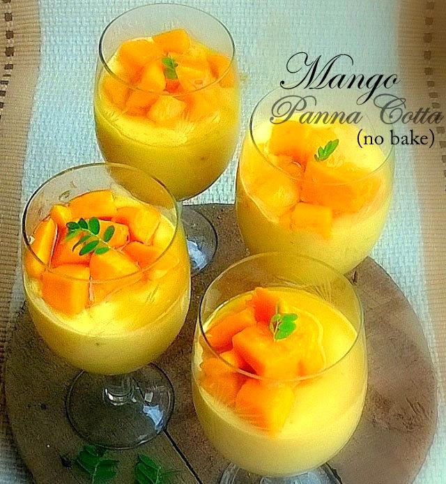 No bake mango panna cotta, mango recipe, panna cotta recipe