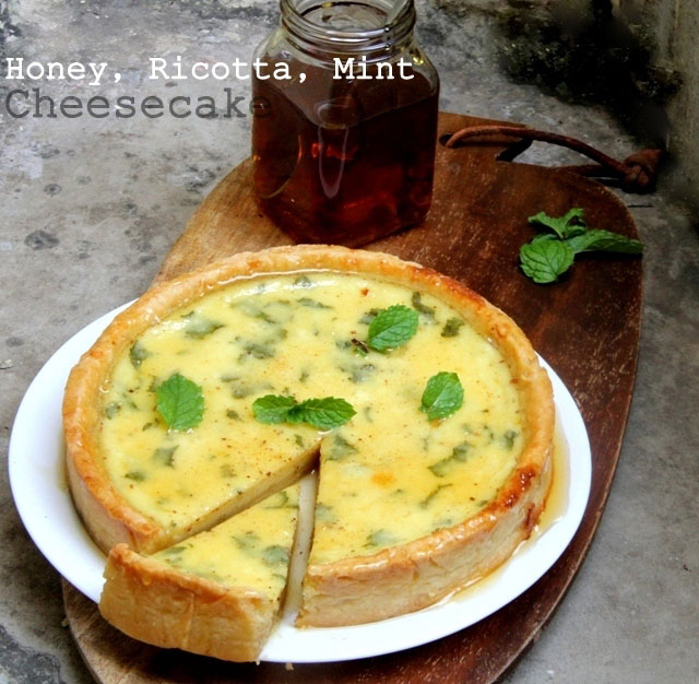 Honey, Ricotta and Mint Cheesecake Recipe, Ricotta Cheesecake, baked cheesecake recipe