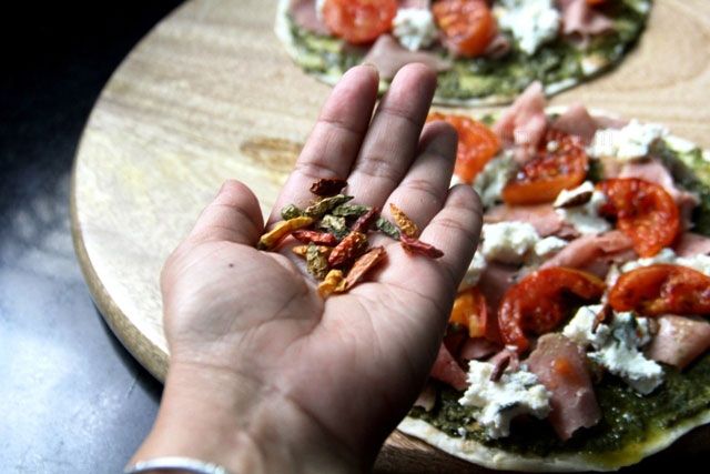 Pizza with Duck Ham, Feta and Pesto Recipe, thin crust healthy pizza, pesto pizza, ham pizza
