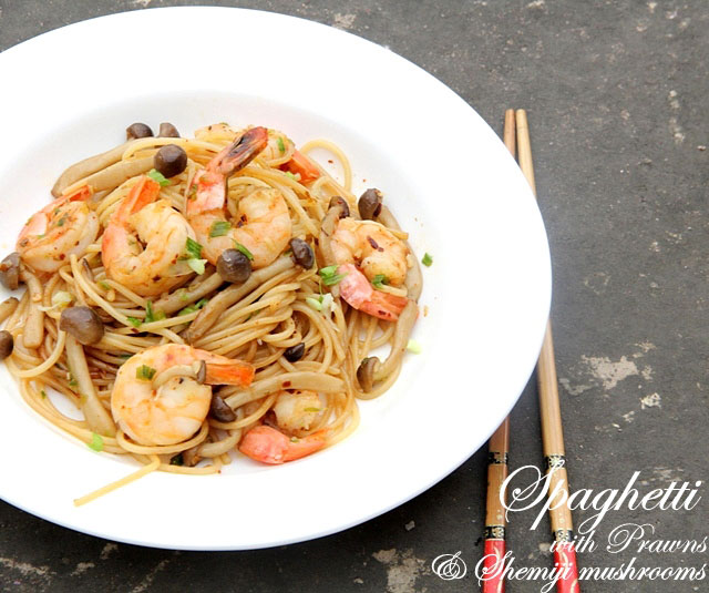Spaghetti with Prawns and Shimeji Mushrooms Recipe, Japanese spaghetti,  mushroom spaghetti