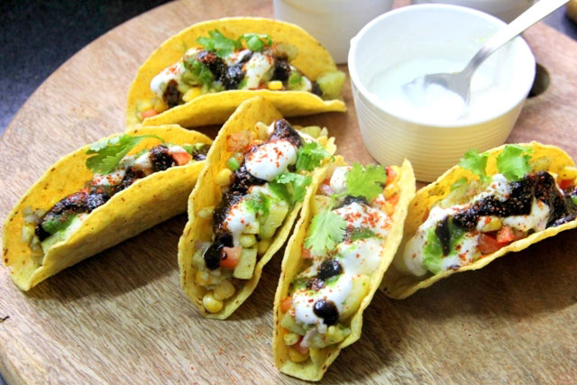 Taco  Chaat recipe, Indian Tacos, Modern Chaat, Starter