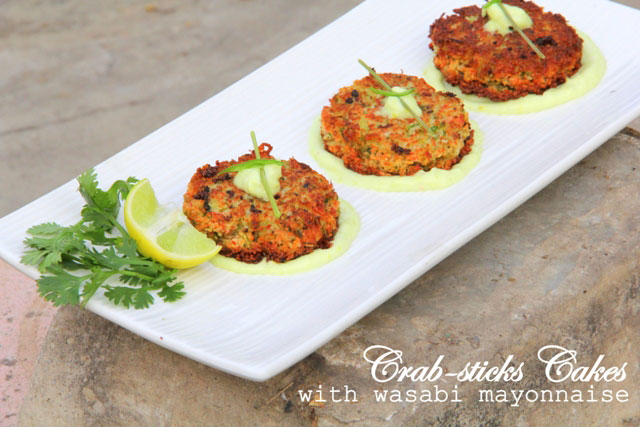 Crab stick cakes with wasabi mayonnaise, crab fritters,  crab cakes, fish cakes, fish fritters