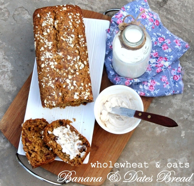 Healthy Banana and Dates Bread, whole wheat banana bread, banana bread recipe, oats bread recipe
