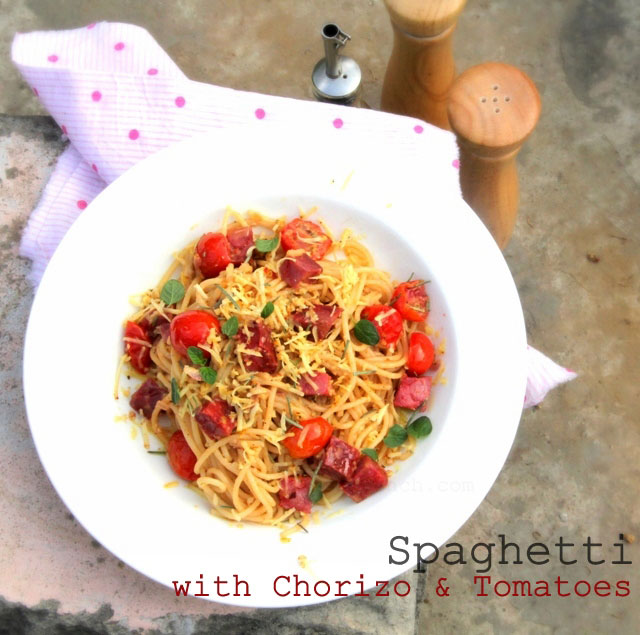 Pasta with Chorizo and Tomatoes, Spaghetti with chorizo, pasta with chorizo, Spanish pasta,  pasta recipe