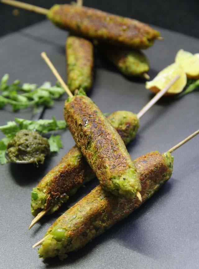 Image result for hara bhara seekh kabab